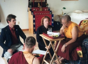 Thrangu Rinpoche clarifying text with Mark, Tingdzin, and Peter Roberts at Gampo Abbey.