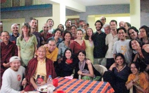 Khenpo Gyurme with Jessie Litven and participants at Tergar Institute, Bodhgaya, India.