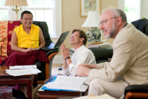 Changling Rinpoche translating with Mark and Scott (2010). Photo by Marvin Moore.