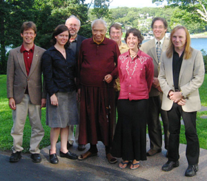 His Eminence Namkha Drimed Rinpoche with NTC members and Peter Roberts.