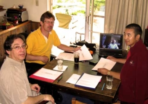 During the Conference of Translators in Boulder, Surmang Khenpo, Larry, and Mark meet on Gesar text with Committee in Halifax using on-line video conferencing.