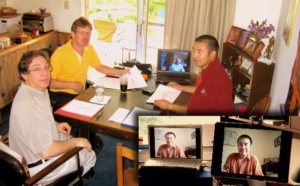 Surmang Khenpo working via skype with the Nalanda Translation Committee.