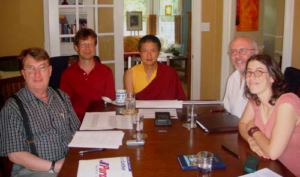 Gyetrul Jigme Rinpoche with the Translation Committee. Photo by Alan Goldstein.
