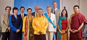Sakyong Mipham Rinpoche, Sakyong Wangmo, Druk Sakyong Wangmo, Jigme Rinpoche and the Committee. Photo by Marvin Moore