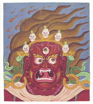 Painting of Four-Armed Mahakala by Chögyam Trungpa Rinpoche Courtesy of Diana J. Mukpo (reproductions available at www.shambhalashop.com)