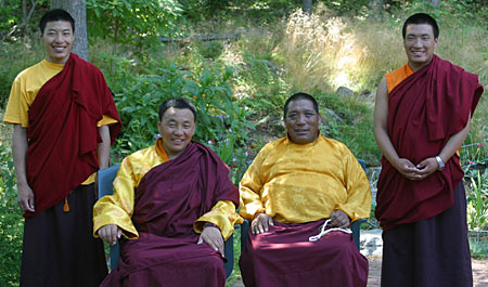 Karma Senge and Damcho Rinpoche (seated) with Sonam Wangdu and Sangye Tendzin (standing). Photo by Marvin Moore.