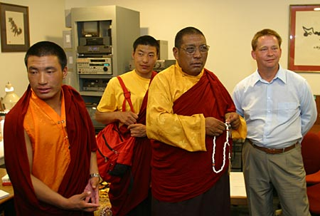 Damcho Rinpoche visits the Shambhala Archives. Photo by Marvin Moore.